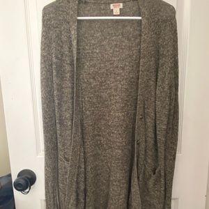 Green long cardigan sweater
